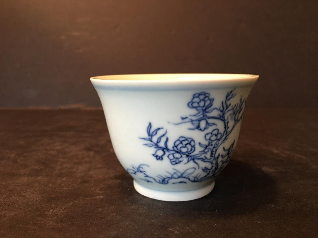 ANTIQUE Chinese Blue and White Cup, Kangxi mark - 3