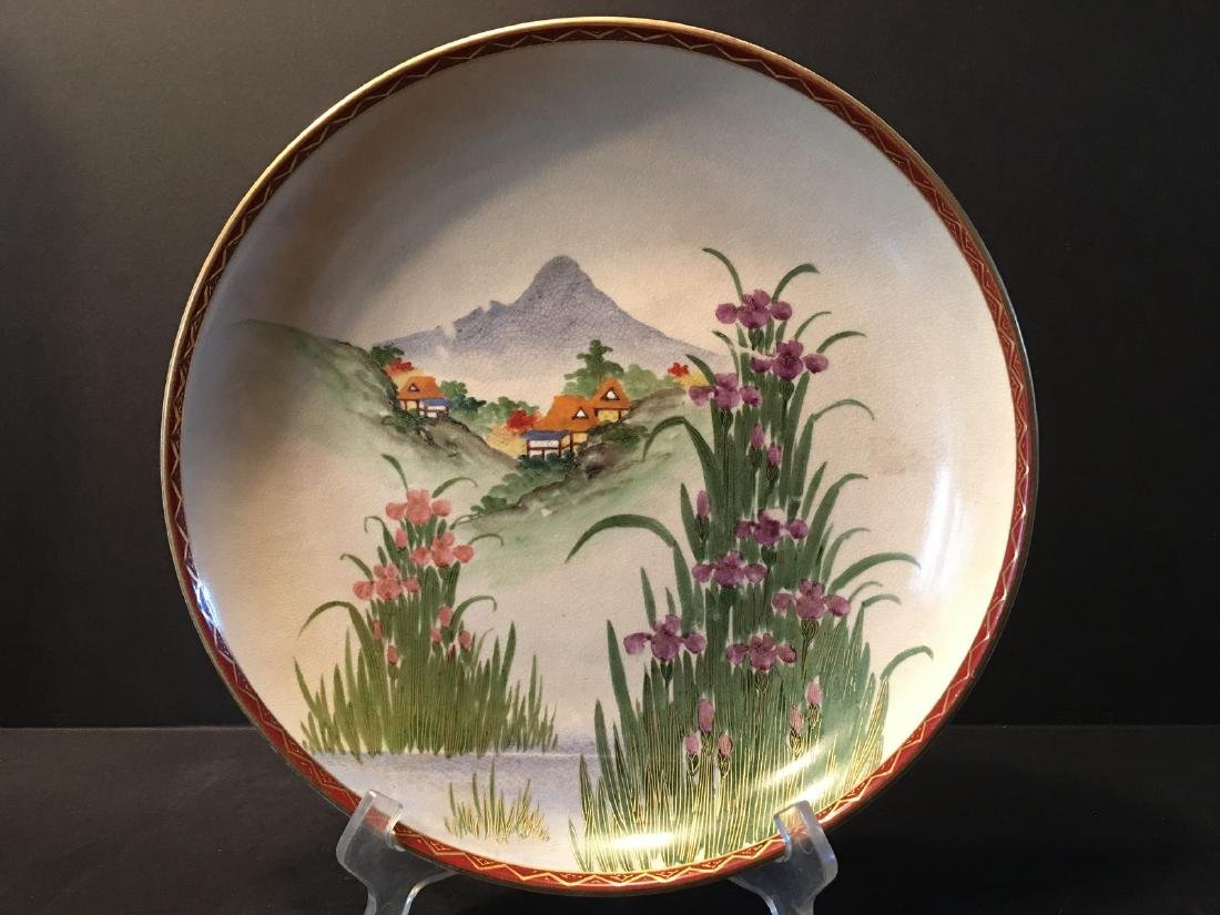 ANTIQUE Japanese Large Satsuma Charger with Landscapes,