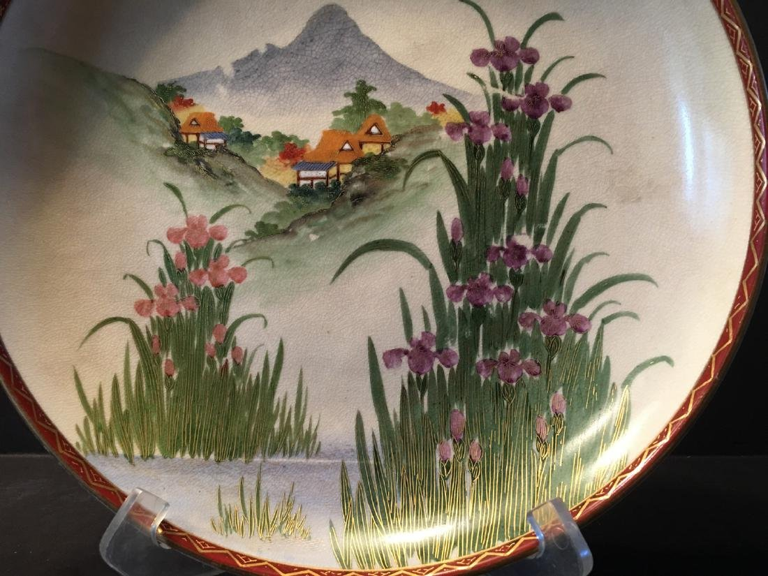 ANTIQUE Japanese Large Satsuma Charger with Landscapes, - 3