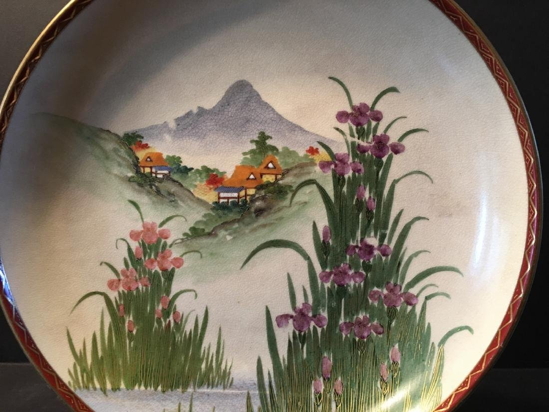 ANTIQUE Japanese Large Satsuma Charger with Landscapes, - 4