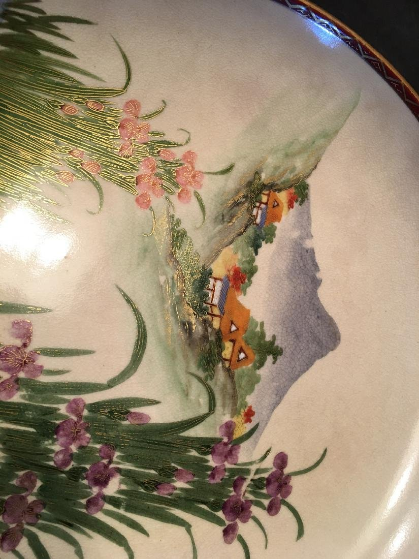 ANTIQUE Japanese Large Satsuma Charger with Landscapes, - 5
