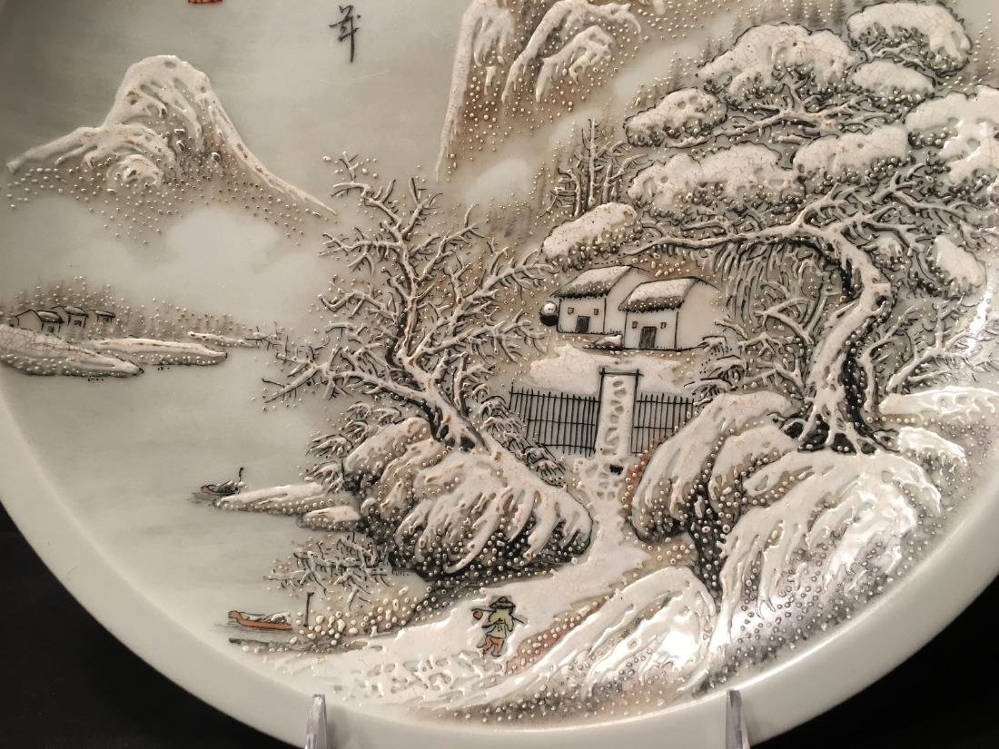 OLD Chinese Snow Scenery Plate, Republic. He Xuren - 4