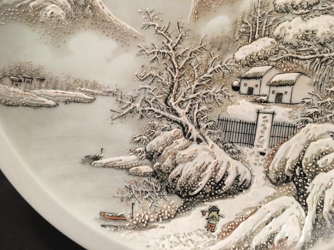 OLD Chinese Snow Scenery Plate, Republic. He Xuren - 7