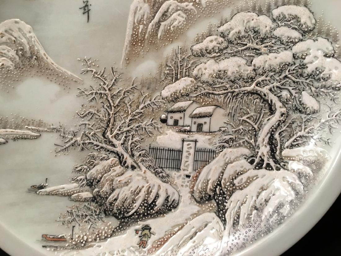 OLD Chinese Snow Scenery Plate, Republic. He Xuren - 8