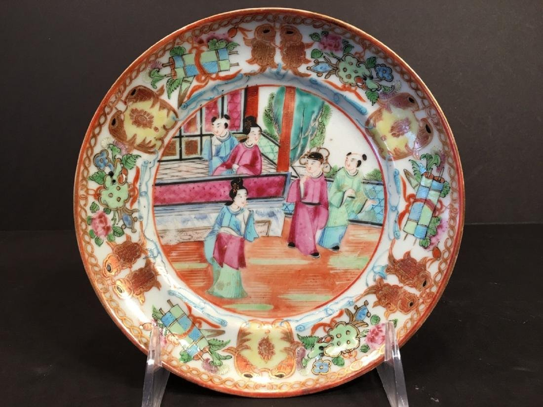 ANTIQUE Chinese Famille Rose Plate with Fish and