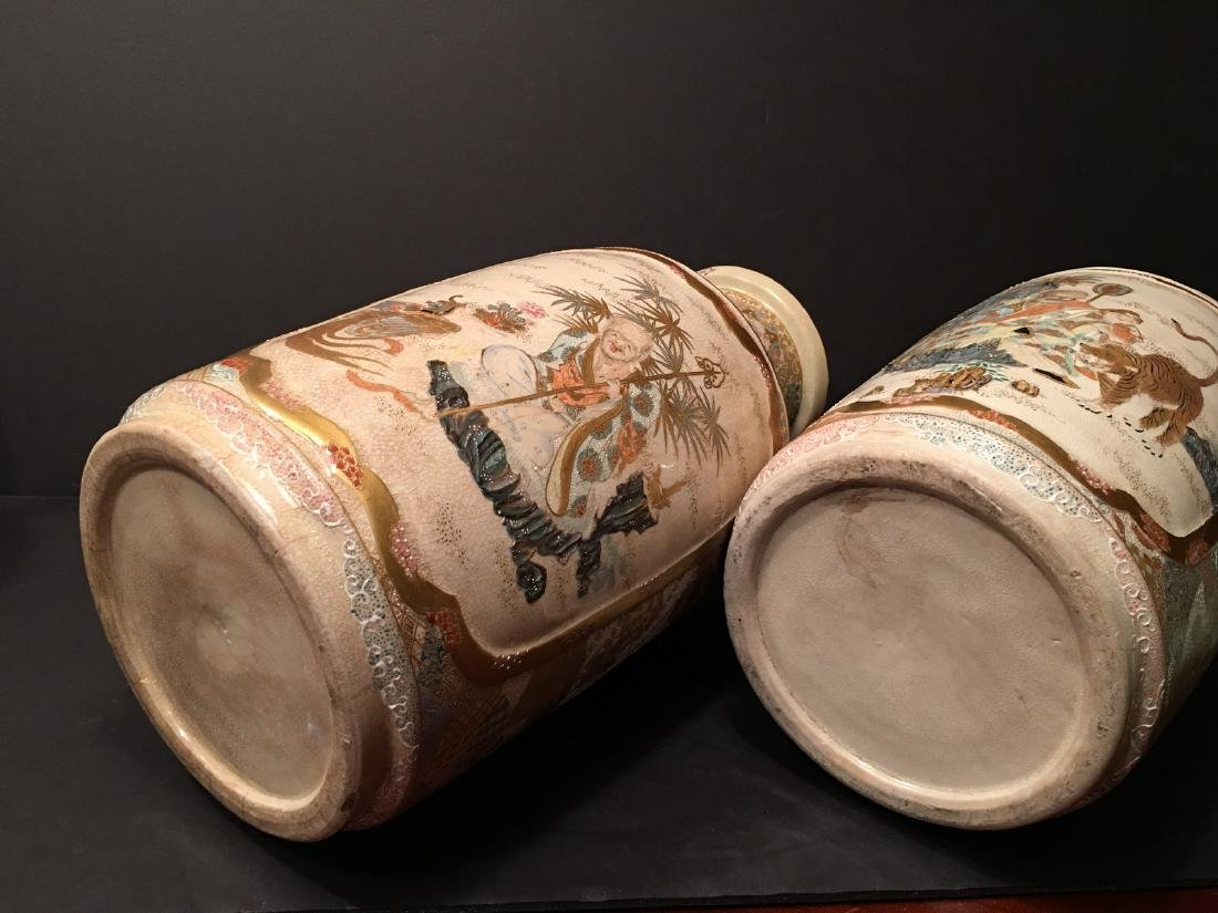 "ANTIQUE Japanese Satsuma Vases, Meiji period. 14"" high - 10"
