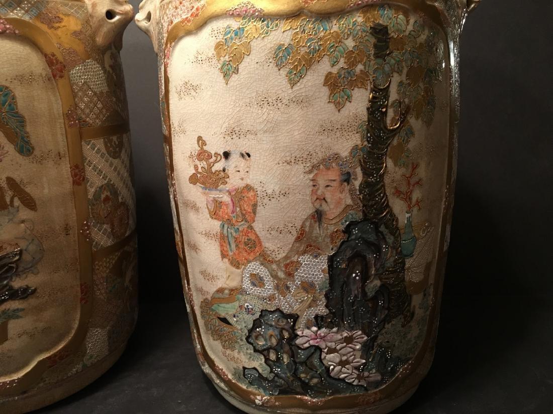 "ANTIQUE Japanese Satsuma Vases, Meiji period. 14"" high - 2"