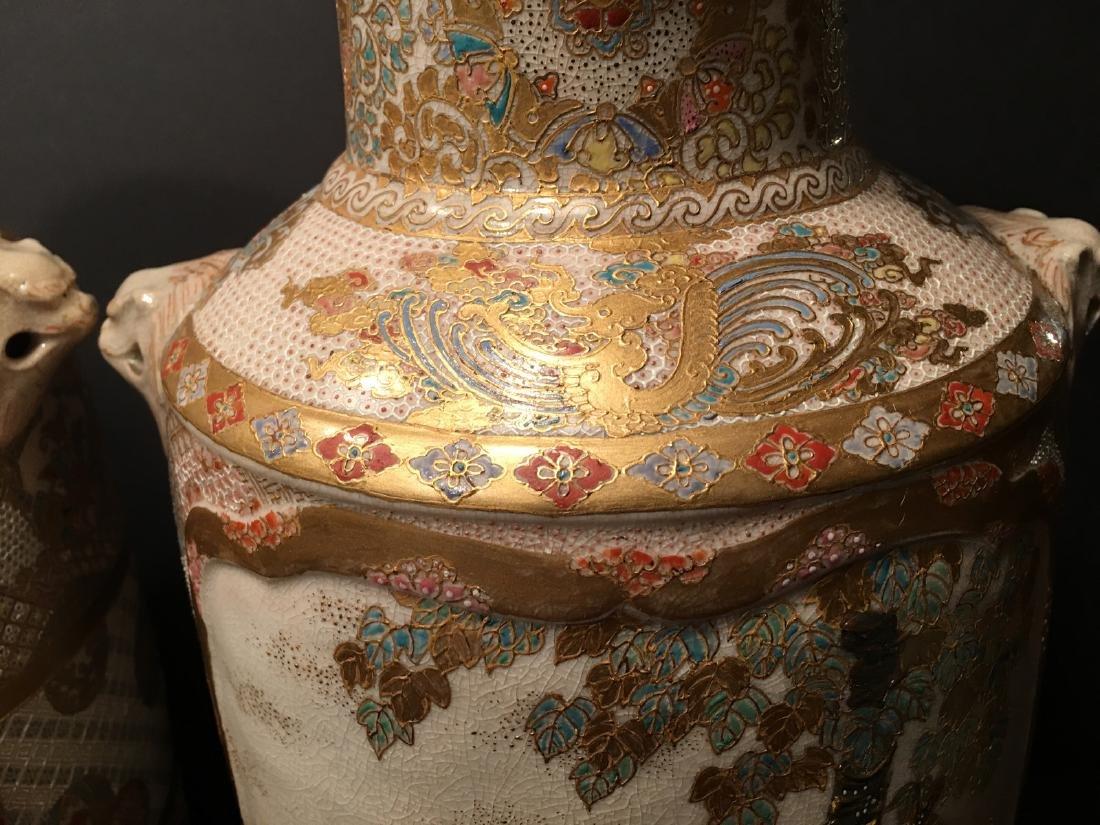 "ANTIQUE Japanese Satsuma Vases, Meiji period. 14"" high - 4"