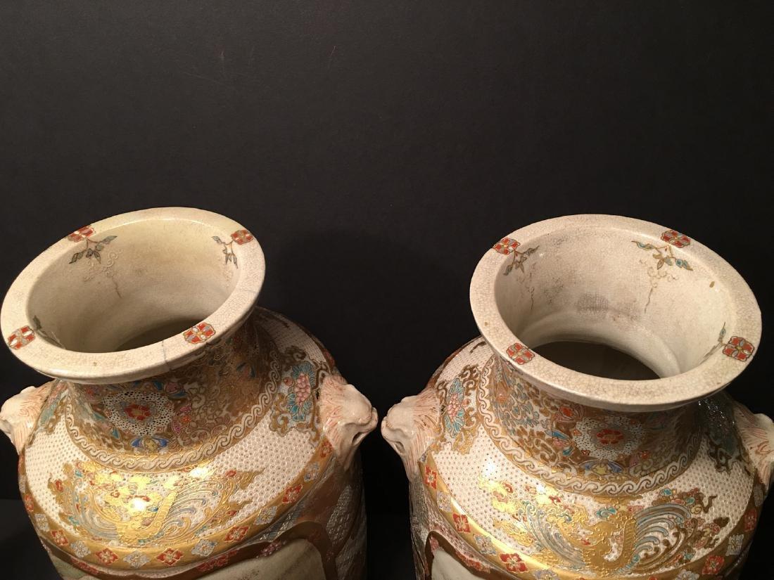 "ANTIQUE Japanese Satsuma Vases, Meiji period. 14"" high - 5"
