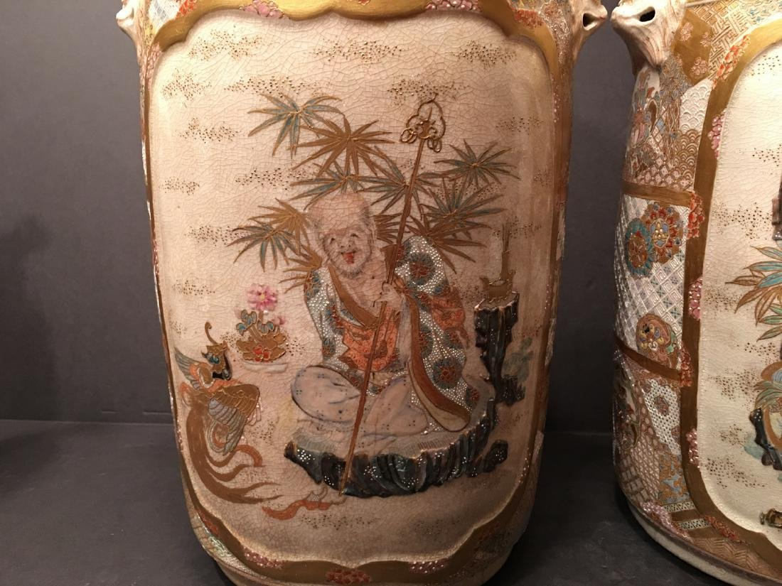 "ANTIQUE Japanese Satsuma Vases, Meiji period. 14"" high - 7"