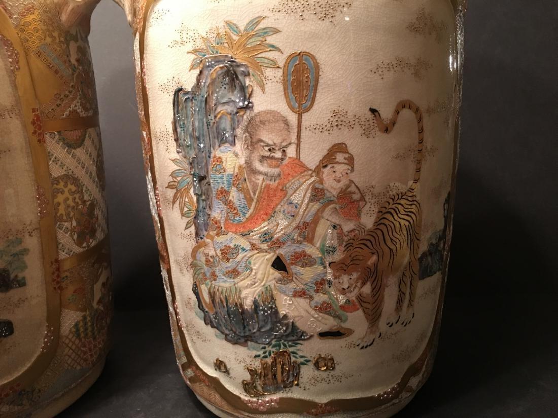 "ANTIQUE Japanese Satsuma Vases, Meiji period. 14"" high - 8"