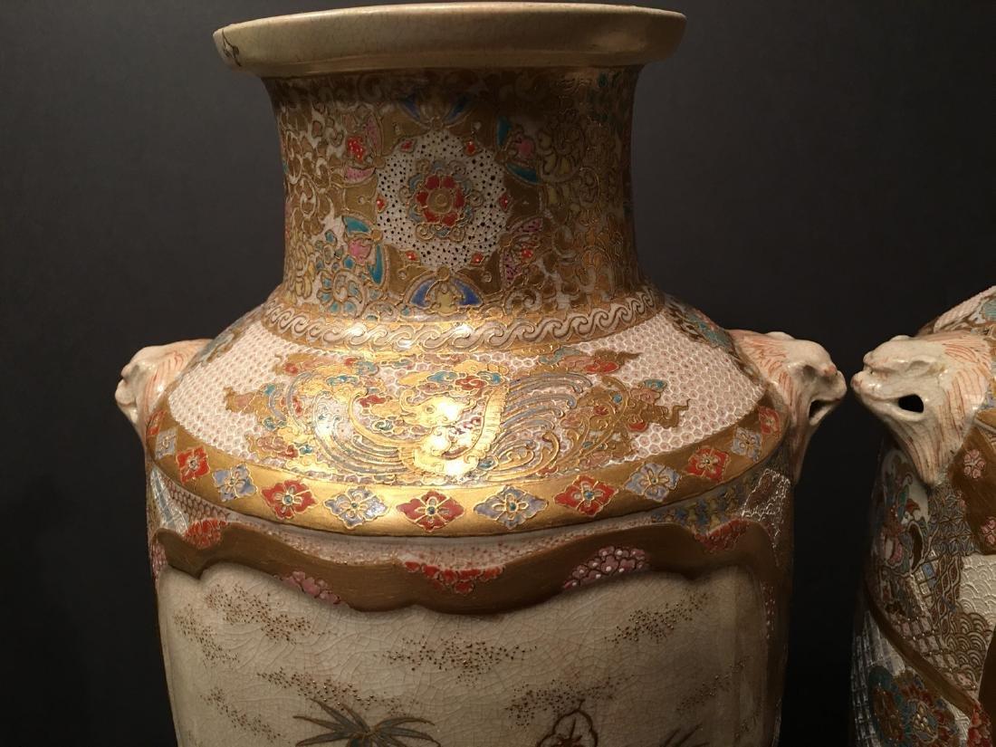 "ANTIQUE Japanese Satsuma Vases, Meiji period. 14"" high - 9"