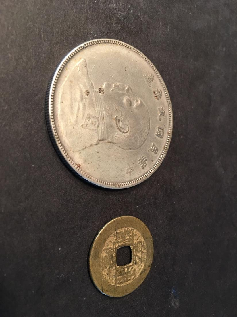 OLD CHINESE Silver Coin and A Copper Qianlong Coin.