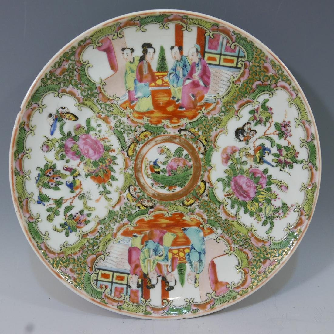 CHINESE ANTIQUE ROSE MEDALLION PLATE
