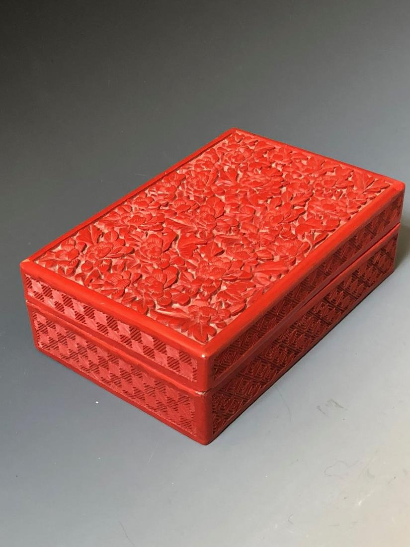A CHINESE ANTIQUE RED LACQUER BOX, 19C. - 3