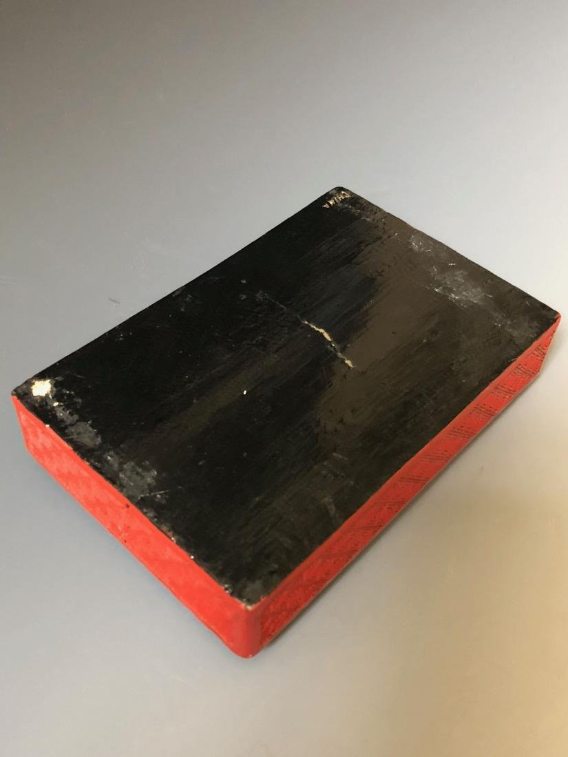 A CHINESE ANTIQUE RED LACQUER BOX, 19C. - 5