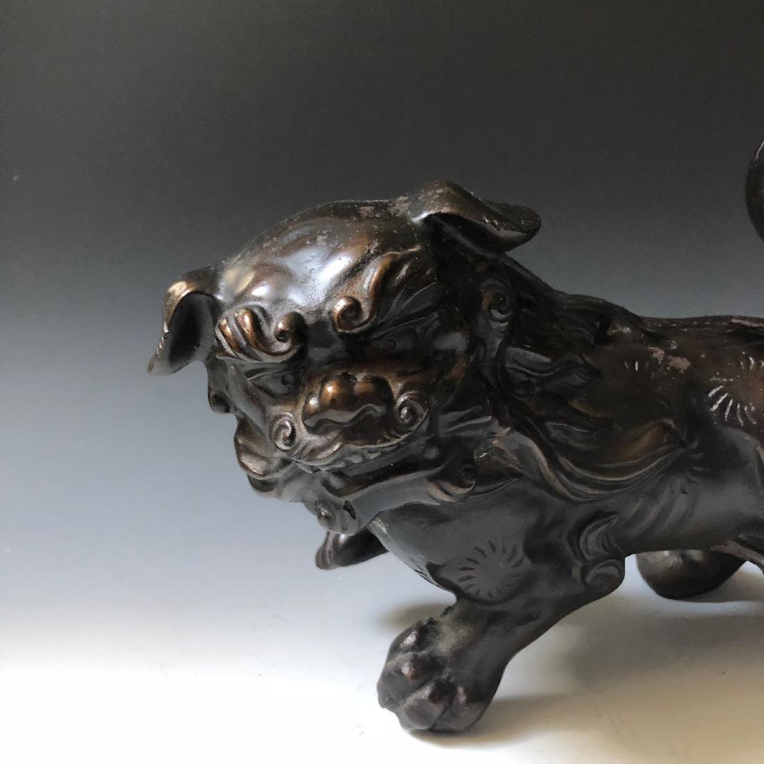 CHINESE ANTIQUE BRONZE FOO DOG - 2