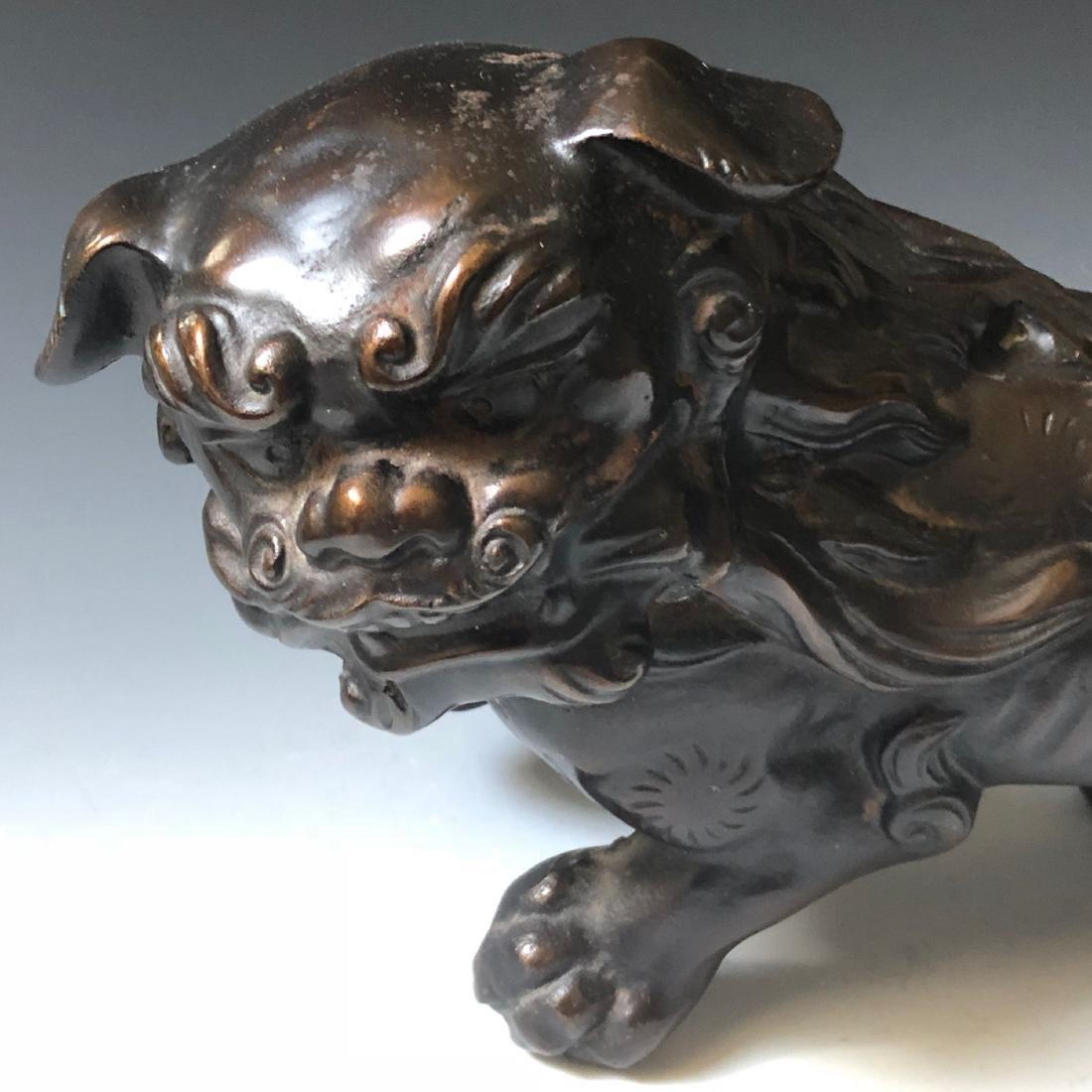 CHINESE ANTIQUE BRONZE FOO DOG - 4