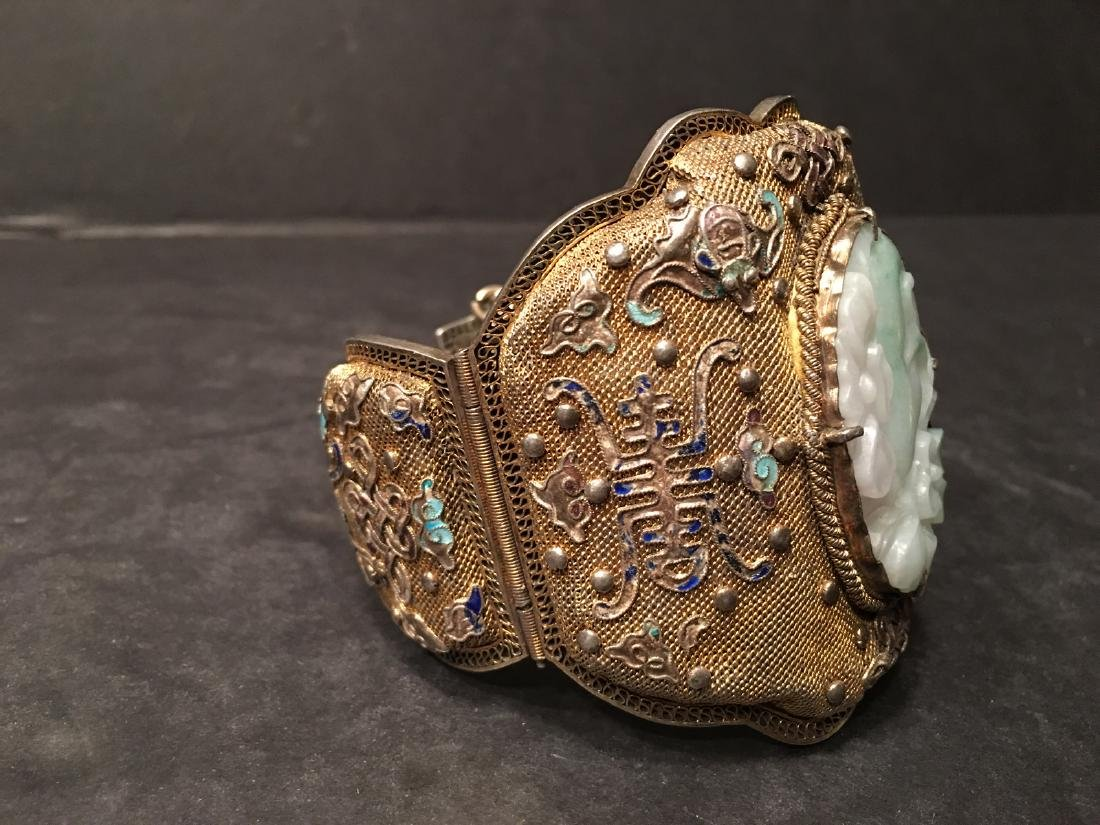 ANTIQUE Chinese Gilt Silver Bangle with Enamels and big - 10