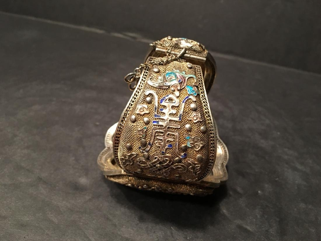 ANTIQUE Chinese Gilt Silver Bangle with Enamels and big - 3