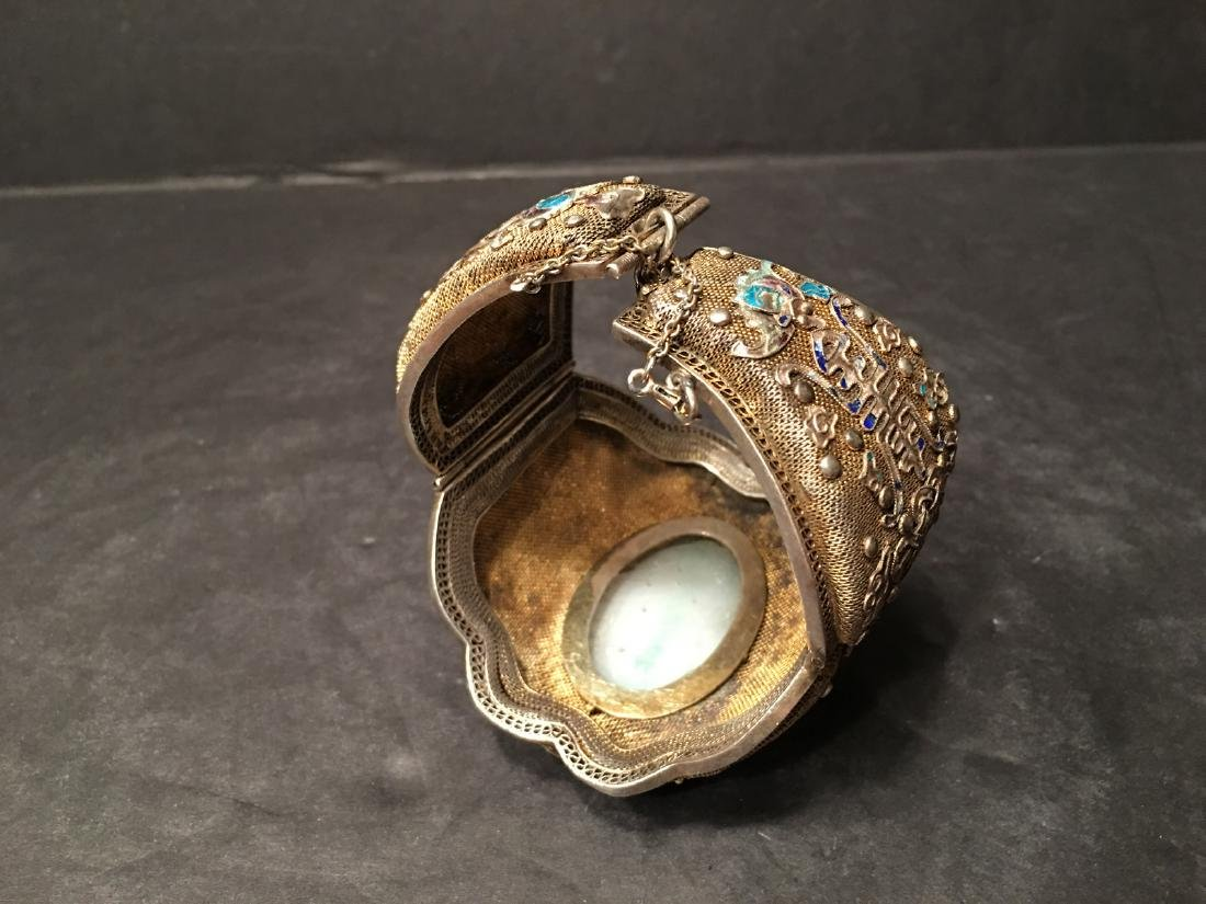ANTIQUE Chinese Gilt Silver Bangle with Enamels and big - 4