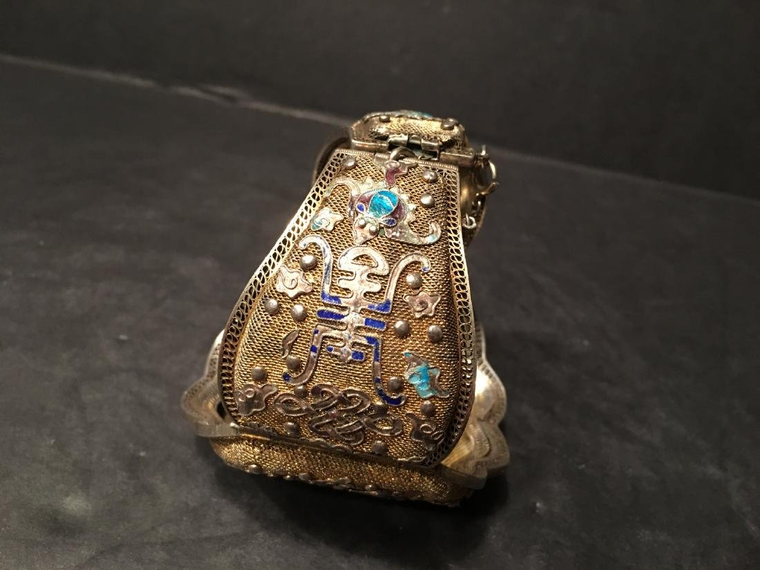 ANTIQUE Chinese Gilt Silver Bangle with Enamels and big - 5