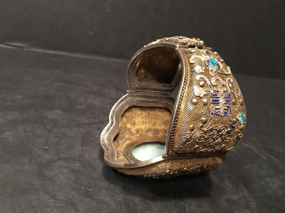 ANTIQUE Chinese Gilt Silver Bangle with Enamels and big - 6