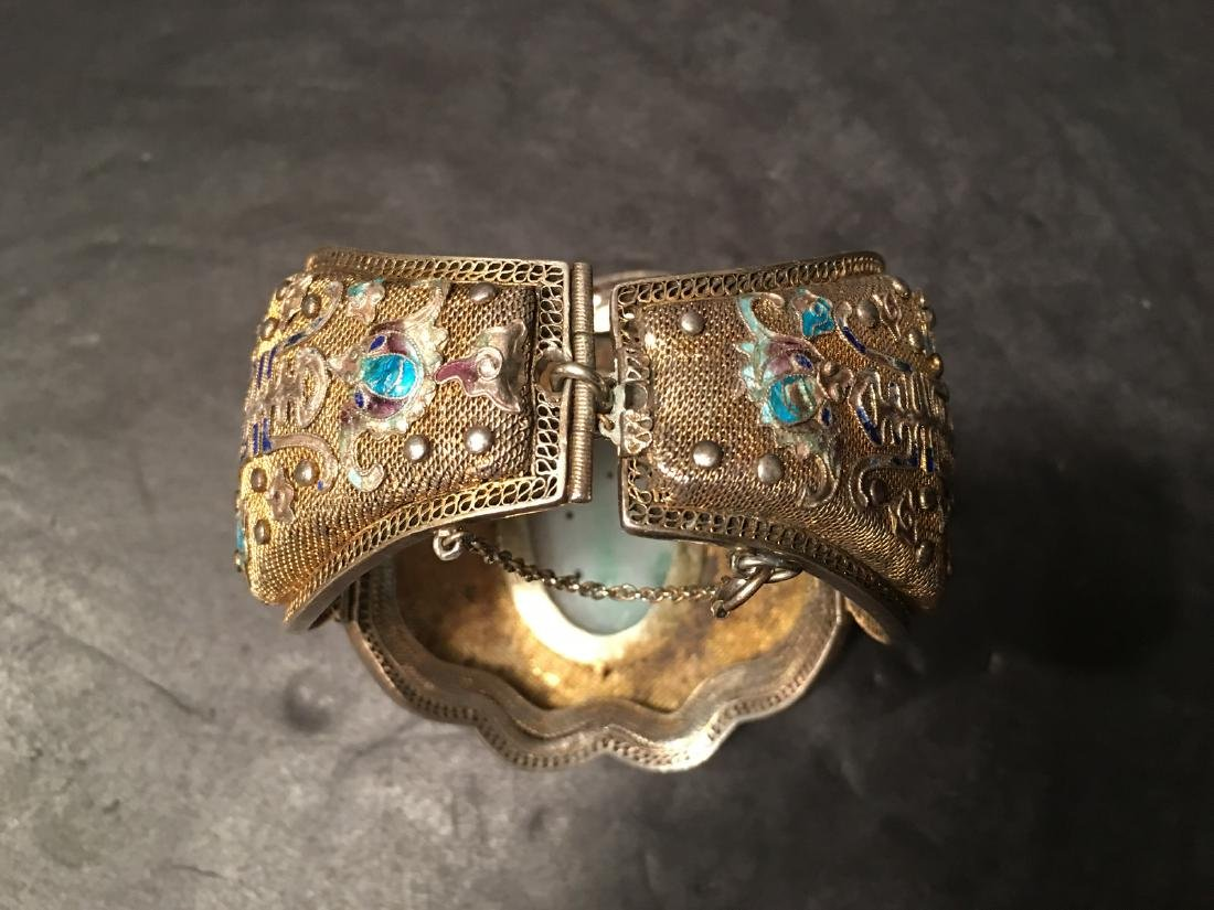 ANTIQUE Chinese Gilt Silver Bangle with Enamels and big - 8