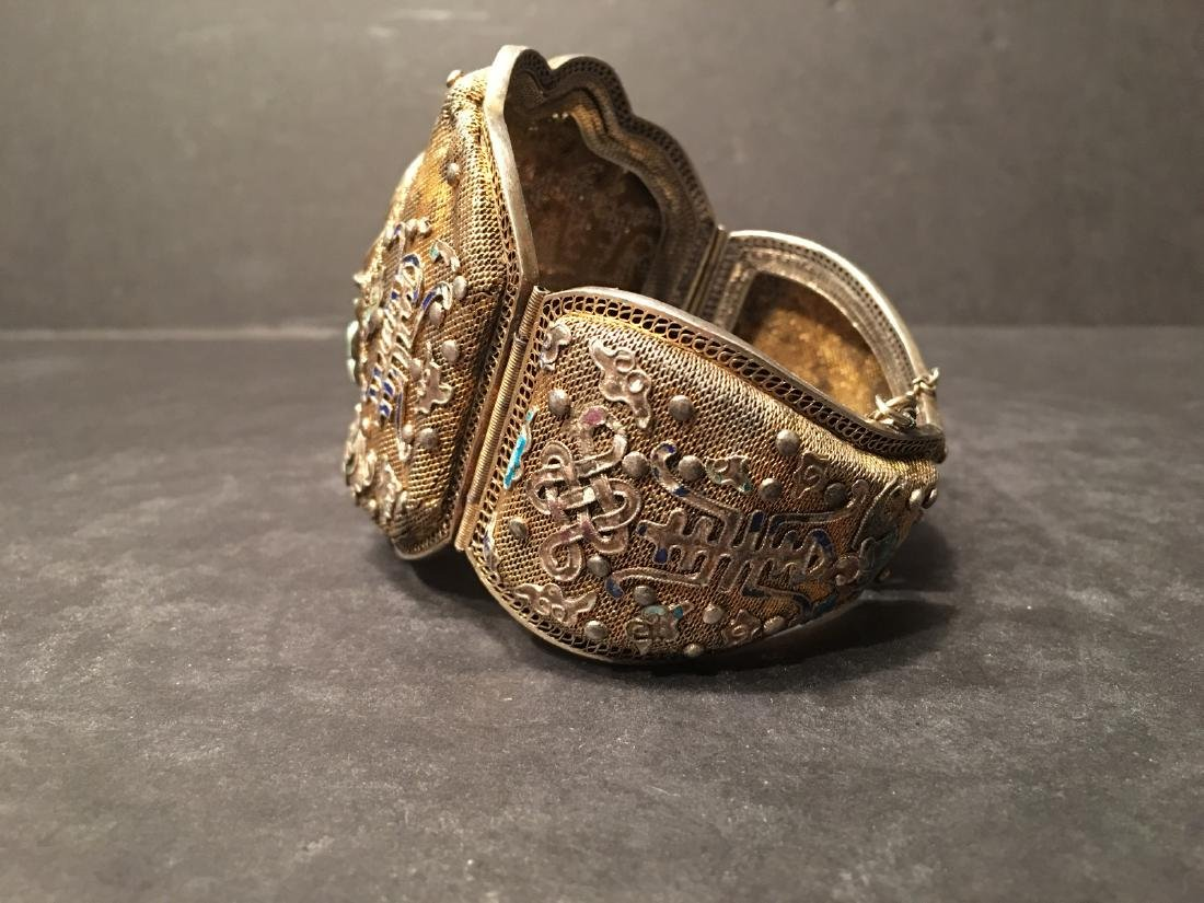 ANTIQUE Chinese Gilt Silver Bangle with Enamels and big - 9