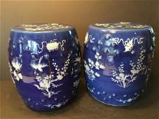 ANTIQUE Pair Chinese Blue Garden Seats with Flowers and
