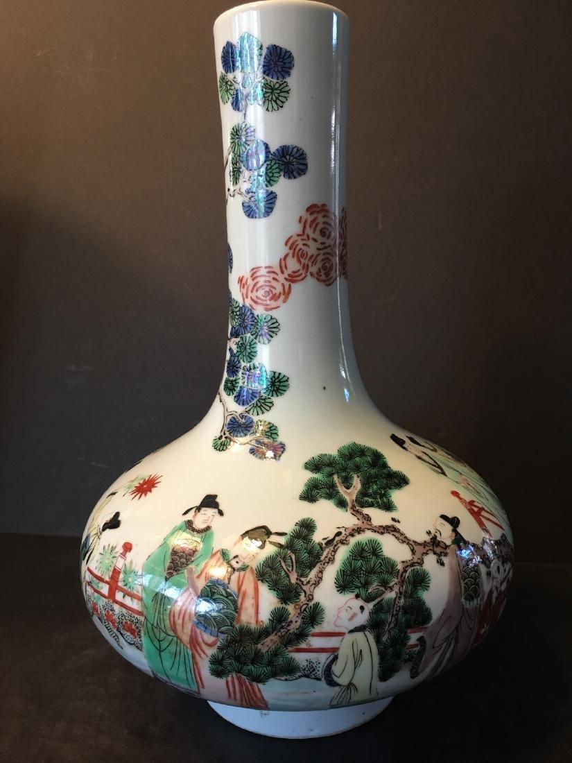 ANTIQUE Chinese Wucai Figurine Vase, 17th-18th century, - 4