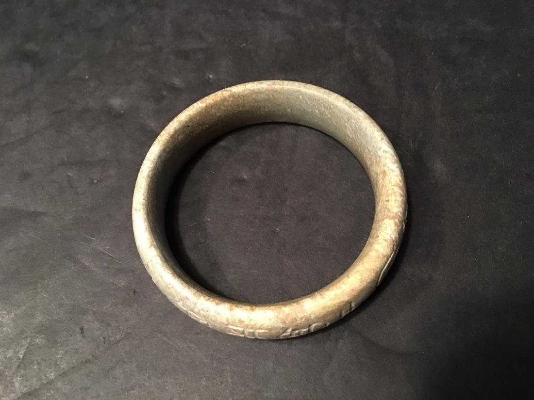 ANTIQUE Chinese Soapstone Bangle with Chinese - 2