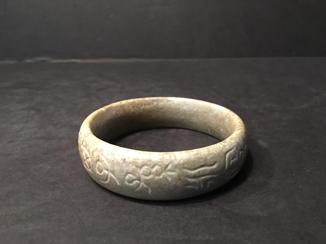 ANTIQUE Chinese Soapstone Bangle with Chinese - 3