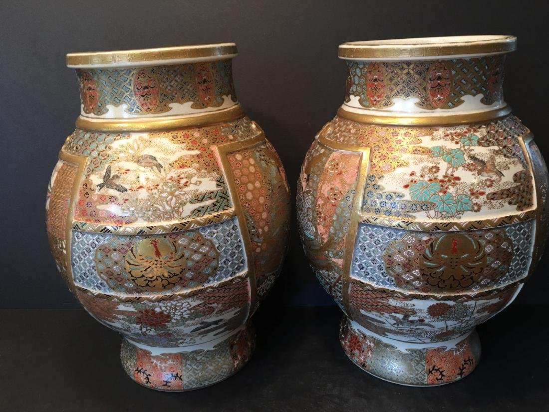 ANTIQUE Japanese Satsuma Vase with Figures and birds, - 4