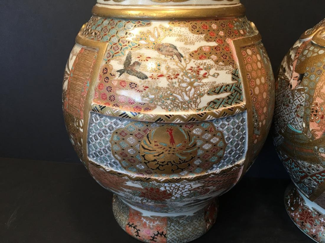 ANTIQUE Japanese Satsuma Vase with Figures and birds, - 5
