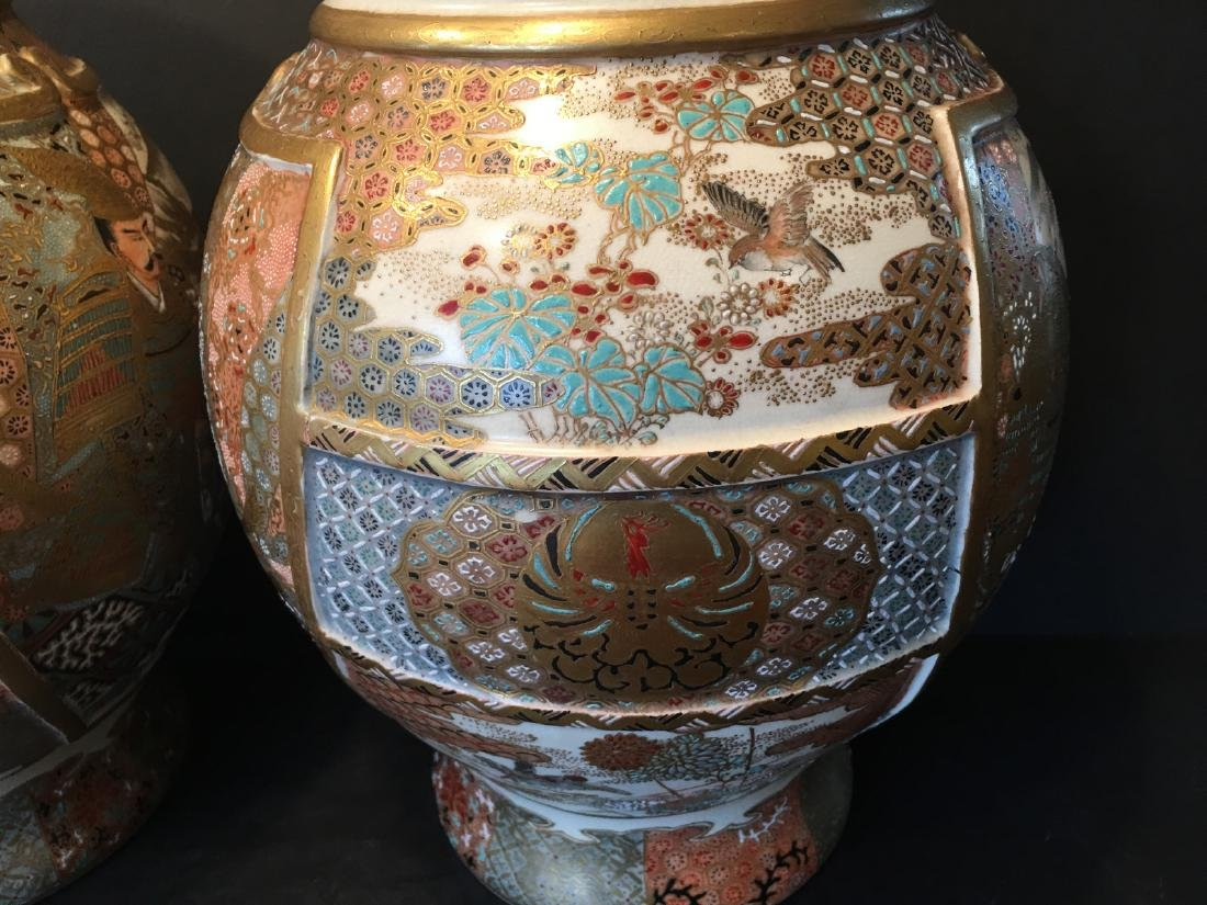 ANTIQUE Japanese Satsuma Vase with Figures and birds, - 6