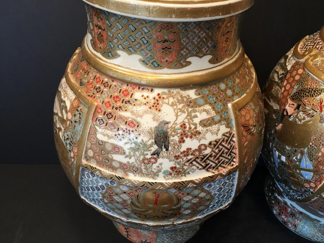 ANTIQUE Japanese Satsuma Vase with Figures and birds, - 8