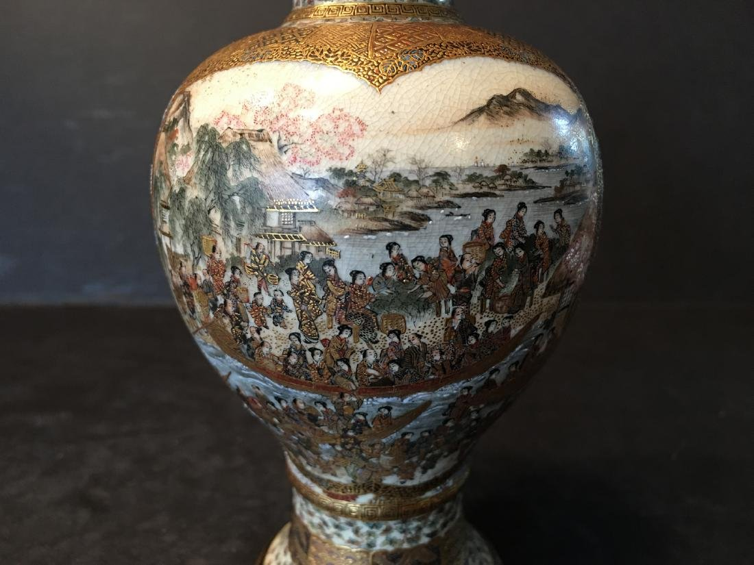 ANTIQUE Japanese Satsuma Vase with Figures and - 6