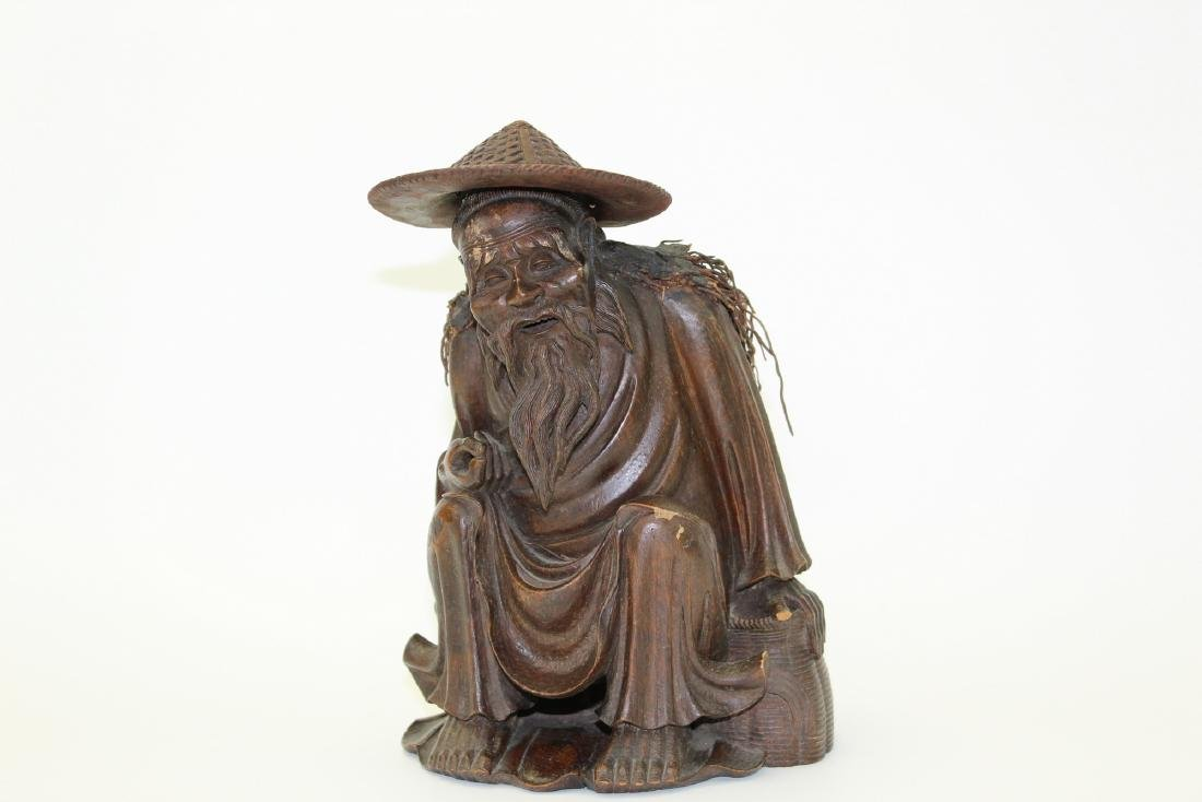 Chinese carved wood fisherman - 2