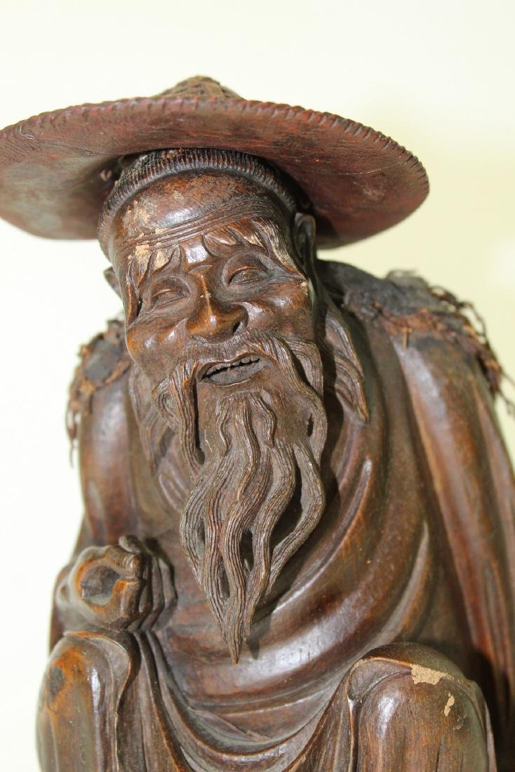 Chinese carved wood fisherman - 3