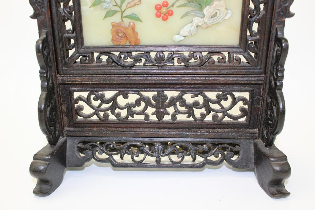 Chinese carved soapstone screen. - 3