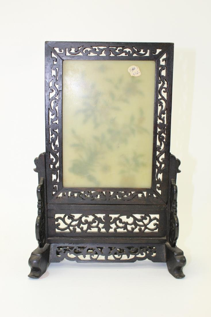 Chinese carved soapstone screen. - 4