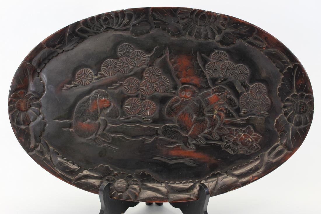 Japanese lacquered wood tray.