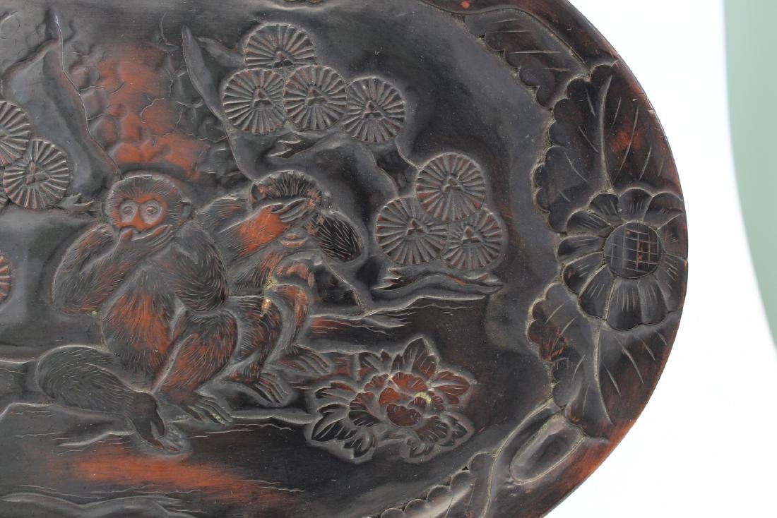 Japanese lacquered wood tray. - 2