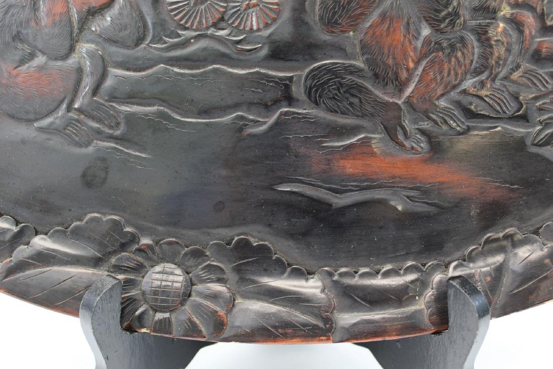 Japanese lacquered wood tray. - 3