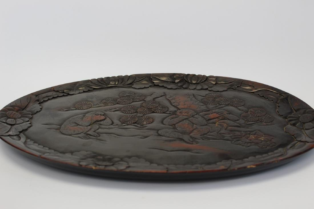 Japanese lacquered wood tray. - 5