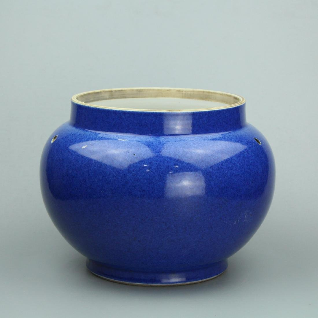 Chinese powder blue porcelain jar.