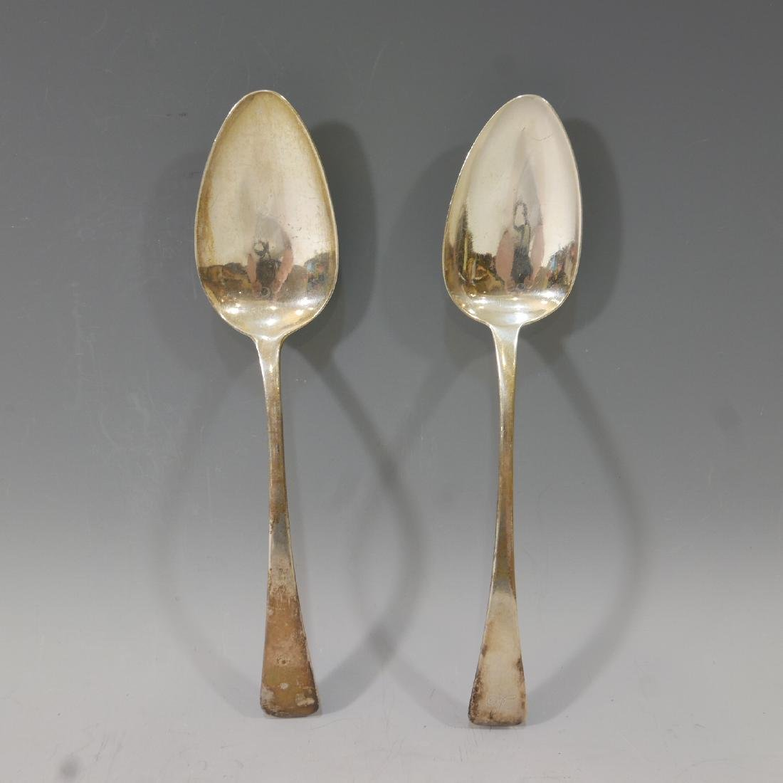 PAIR OF ANTIQUE ENGLISH STERLING SILVER LARGE SPOON 116