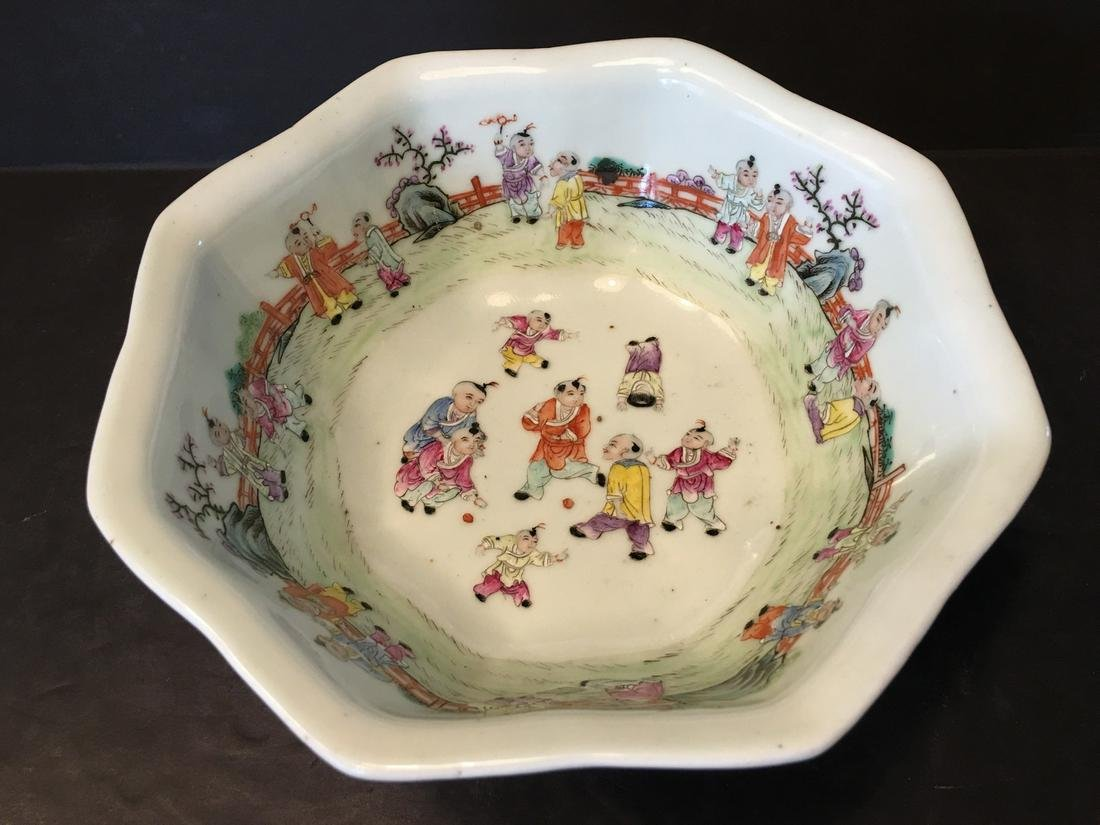 ANTIQUE Large Chinese Famille Rose Bowl with Children,
