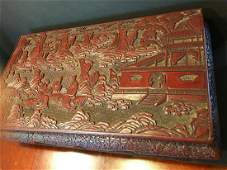 ANTIQUE rare cinnabar wood low table, Qing period. 21
